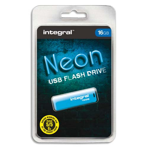 Code 138927, Désignation: INTEGRAL Clé USB 2.0 NEON 16GB BleuE INFD16GBNEONB